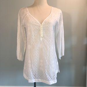 Banana Republic white eyelet 3/4-sleeve blouse